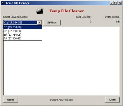Menú principal de Temp File Cleaner